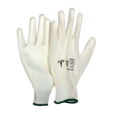 Работни ръкавици, PU, бели, 9 / L