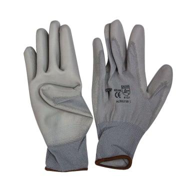 Работни ръкавици, PU, сиви, 10 / XL