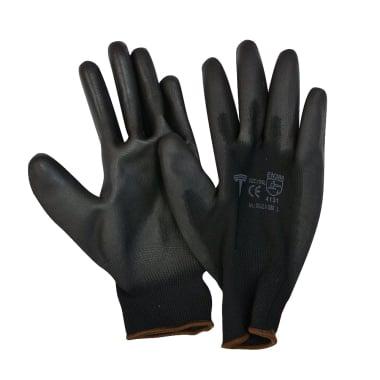 Работни ръкавици, PU, черни, 9 / L