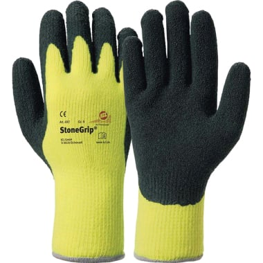 Ръкавици HONEYWELL, Stone Grip, латекс, акрил, жълто - черно, N 9