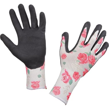 Ръкавици градински Garden Luminus, нитрил - полиестер, черно - принт, N 7