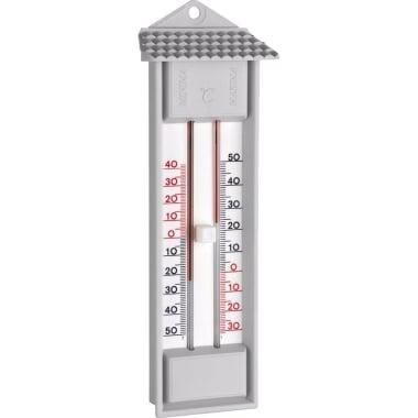 Термометър, измерващ минимална - максимална температура, сив, отвор за окачане