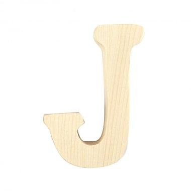 """Буква декоративна RicoDesign, """"J"""", натурално дърво, 8 cm"""