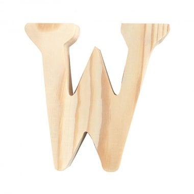 """Буква декоративна RicoDesign, """"W"""", натурално дърво, 8 cm"""