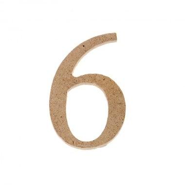 "Декоративен символ RicoDesign, ""6"", MDF, 4,1x2,6 cm"