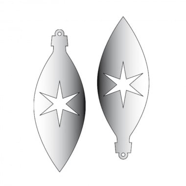 Декоративна фигура Rico Design, ВИСУЛКА 1 2ч., SILVER, 11/4 cm