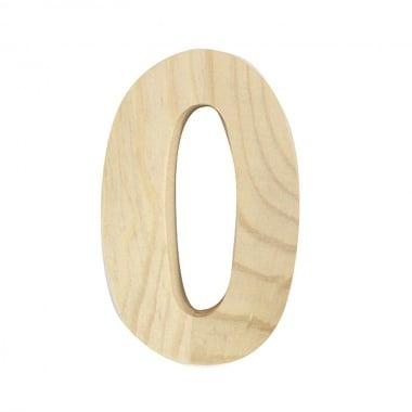 "Цифра декоративна RicoDesign, ""0"", натурално дърво, 8 cm"