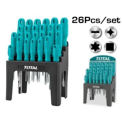 Комплект отвертки със стойка TOTAL, SL, PH, TX, SQ, 26 части