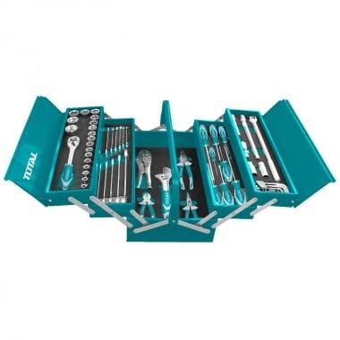 Метален куфар с инструменти TOTAL INDUSTRIAL, 59 части