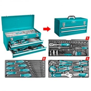 Метален куфар с инструменти TOTAL INDUSTRIAL, 97 части