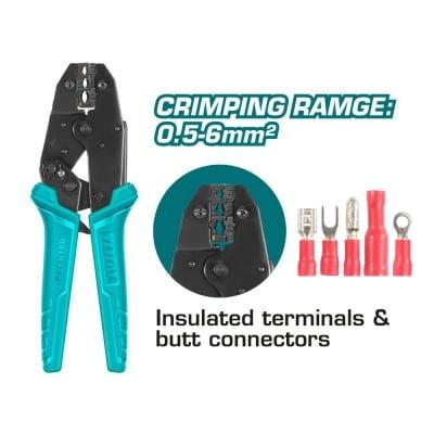 Клещи за кримпване на изолирани кабелни обувки TOTAL, Industrial, 180 мм, 0.5 – 6.0 мм²