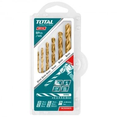 Комплект свредла TOTAL, цилиндричен захват, HSS, 6 броя, Ф 2 - Ф 8