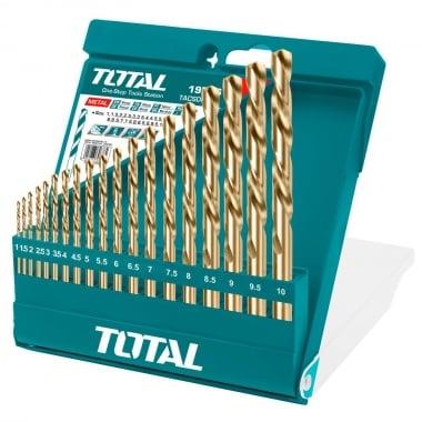 Комплект свредла TOTAL, цилиндричен захват, HSS, PVC кутия, 19 броя, Ф 1 - Ф 10