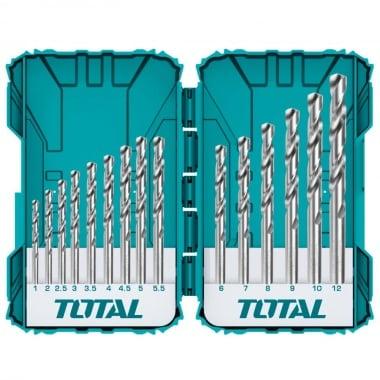 Комплект свредла TOTAL INDUSTRIAL, цилиндричен захват, HSS-M2, PVC кутия, 15 броя, Ф 1 - Ф 12
