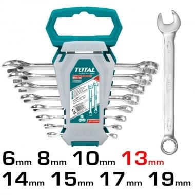 Комплект комбинирани ключове TOTAL Industrial, SW 6 - 19 мм, 8 части