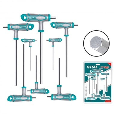 Комплект Т-образни шестограмни отвертки TOTAL Industrial, SW 2 - 10, 8 части