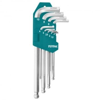 Комплект Г-образни ключове TOTAL Industrial Long, CrV, SW 1.5 - 10 мм, 9 броя
