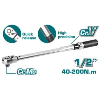 "Ключ динамометричен TOTAL INDUSTRIAL, 1/2"", 40 - 200 Nm"