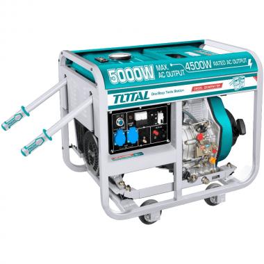 Дизелов монофазен генератор с дръжки и колела TOTAL, 5 kW