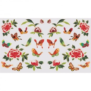Декупажна хартия, 60 g/m2, 33 x 48 cm, 1л, Пеперуди и цветя