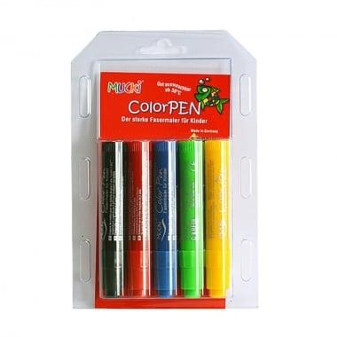 Цветни маркери Mucki, 5 цвята, перящи