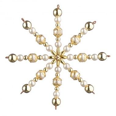 Креативен комплект за направата на звезда от перли, Ø 10 cm, 1 брой, златни/ бели