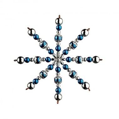 Креативен комплект за направата на звезда от перли, Ø 15 cm, 1 брой, синьо/ сребро