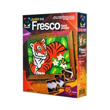 """Креативен комплект рисунка с цветен пясък  Fresco, """"Tiger and butterfly"""""""