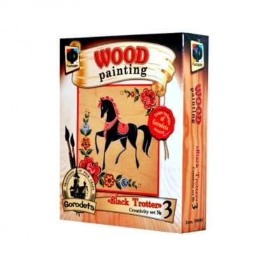 Креативен комплект за рисуване върху дърво Wood painting, «Black Trotter»