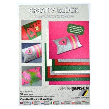 Блок 10л. Фото картон с орнаментен лак, 220 g/m2, А4