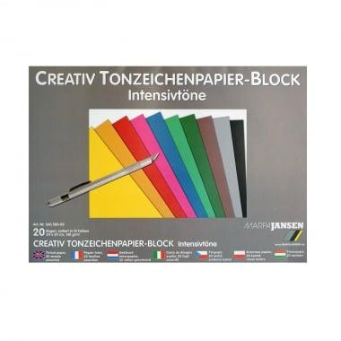 Блок цветен картон, 130 g/m2, 24х34 cm, 20 листа, интензивни цветове