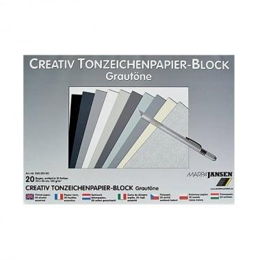 Блок цветен картон, 130 g/m2, 24х34 cm, 20 листа, степени на сиво
