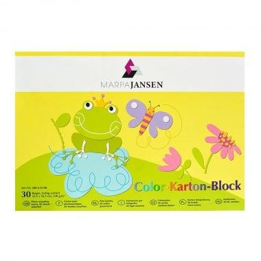 Блок цветен картон, 220 g/m2, 22.5 х 32.5 cm, 30 л., 10 цвята