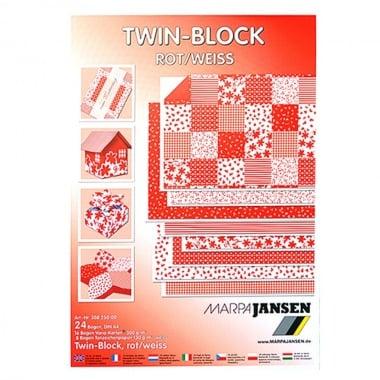 Блок 8л.цветна хартия/16л.варио картон, А4, червено-бели