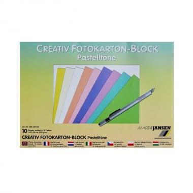 Блок фото картон, 300 g/m2, 24 x 34 cm, 10 листа, пастелни цветове