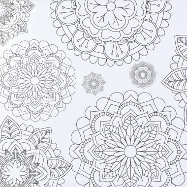 Варио картон, 250 g/ m 2,50 x 70 cm, 1л, Мандала/ бял
