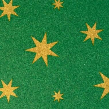 Варио картон, 300 g/m2, 50 x 70 cm, 1л, зелен със златни звезди