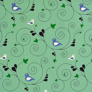 Варио картон, 300 g/m2, 50 x 70 cm, 1л, Птица в клони, зелен