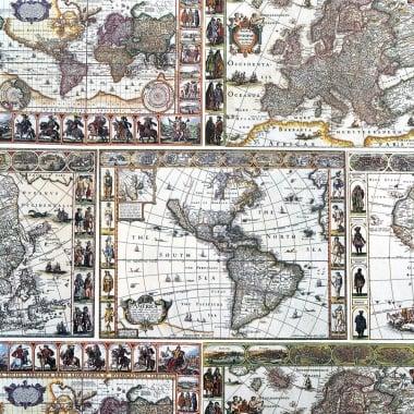 Декупажна хартия с мотиви, 85 g/m2, 50 x 70 cm, 1л, Карта на света