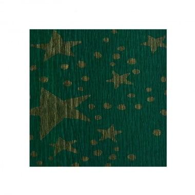 Креп хартия, 35 g/m2, 50 x 250 cm, 1 ролка, зелено на златни звездици