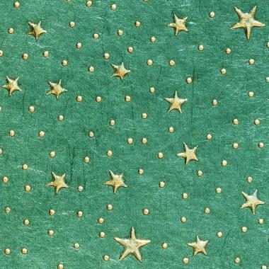 Хартия памучна, 100 g/m2, 50 x 70 cm, 1л, зелена с метални зл.звезди