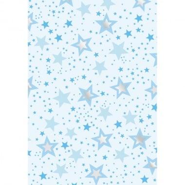 Хартия прозрачна твърда, 115 g/m2, 50x60cm, 1 л, Звезди, синьо/сребърни