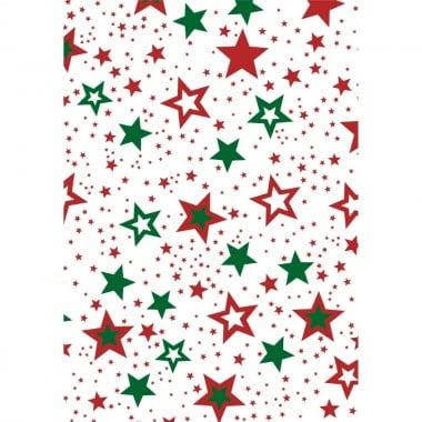 Хартия прозрачна твърда, 115 g/m2, 50x60cm, 1 л, Звезди, червено/зелени