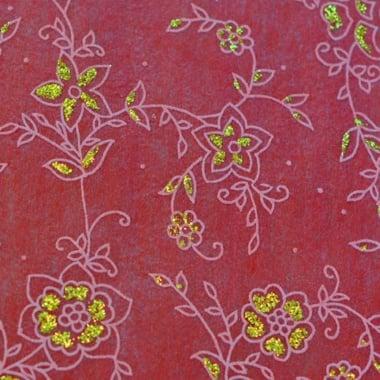 Хартия ръчна памучна, 50 g/m2, 50 x 70 cm, 1 л., маслина с релефни растения