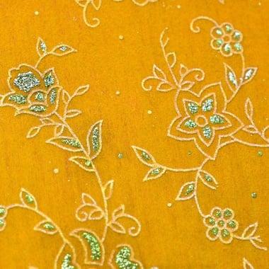 Хартия ръчна памучна, 50 g/m2, 50 x 70cm, 1 л., жълт с релефни растения