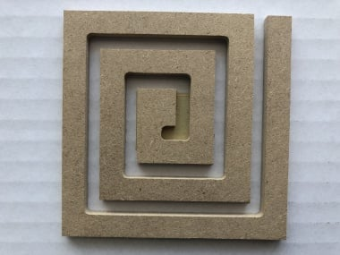 Декоративна фигура Rico Design, КВАДРАТ СПИРАЛА, MDF, 7.5/7.5/0.5 cm