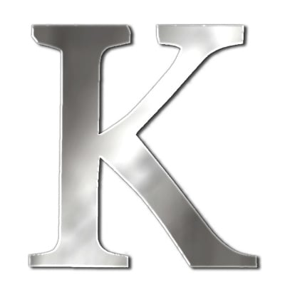 "Декоративен символ RicoDesign, ""K"", SILVER, 32/29 mm"