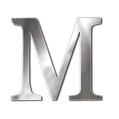 """Декоративен символ RicoDesign, """"M"""", SILVER, 32/34 mm"""