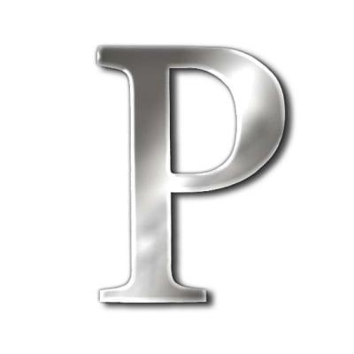"""Декоративен символ RicoDesign, """"P"""", SILVER, 32/25 mm"""