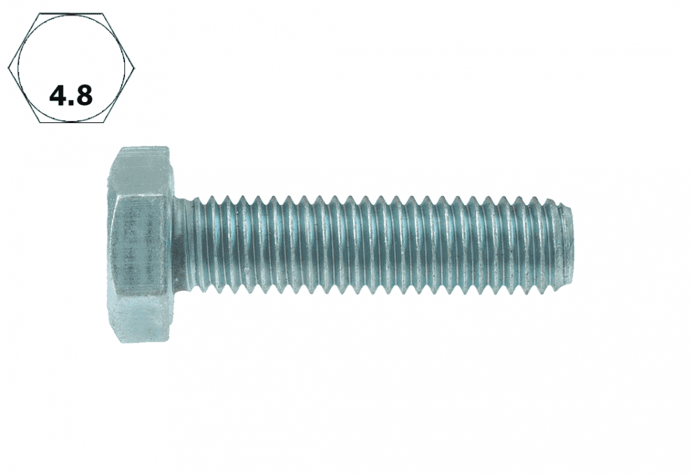 Болт с шестостенна глава, DIN 933, 4.8, vZn, M 8 x 80